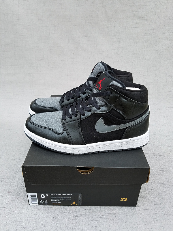 New Air Jordan 1 Retro Wool Black Grey Shoes