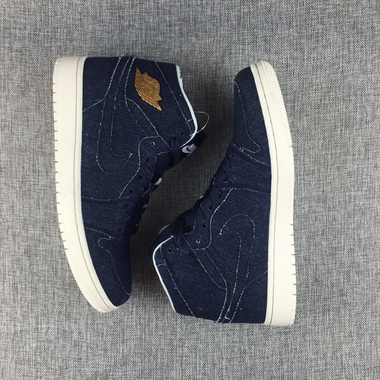 New Air Jordan 1 Tannin Blue Gold Shoes
