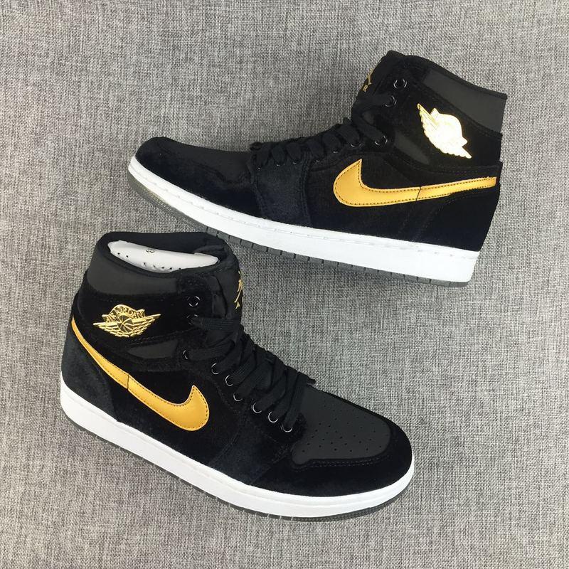 New Air Jordan 1 Velvet Black Yellow Shoes