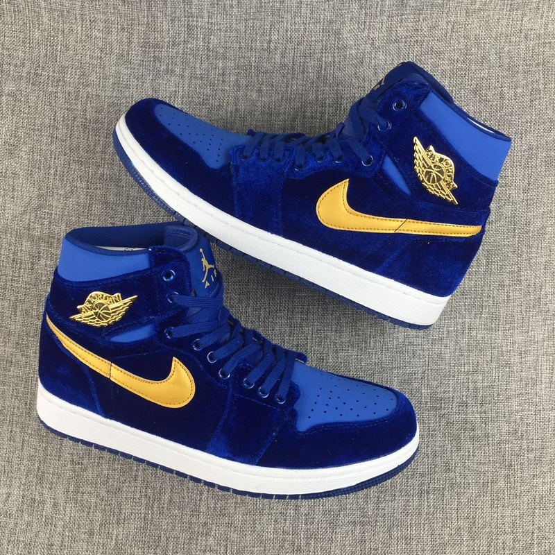 New Women Air Jordan 1 Velvet Blue Yellow Shoes