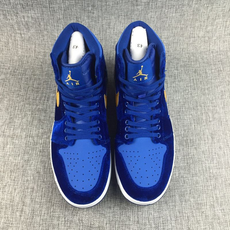 New Air Jordan 1 Velvet Blue Yellow Lover Shoes - Click Image to Close