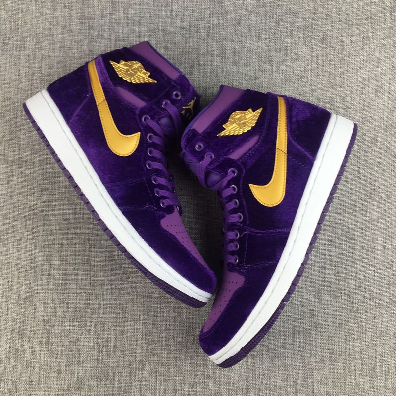 New Air Jordan 1 Velvet Purple Yellow Shoes