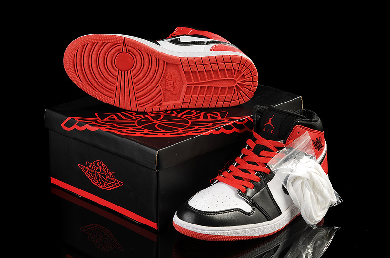 New Arrival Jordan 1 White Black Red Shoes
