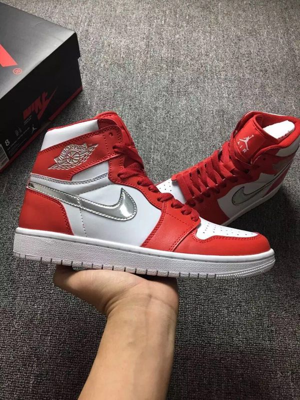 New Air Jordan 1 White Red Silver Shoes