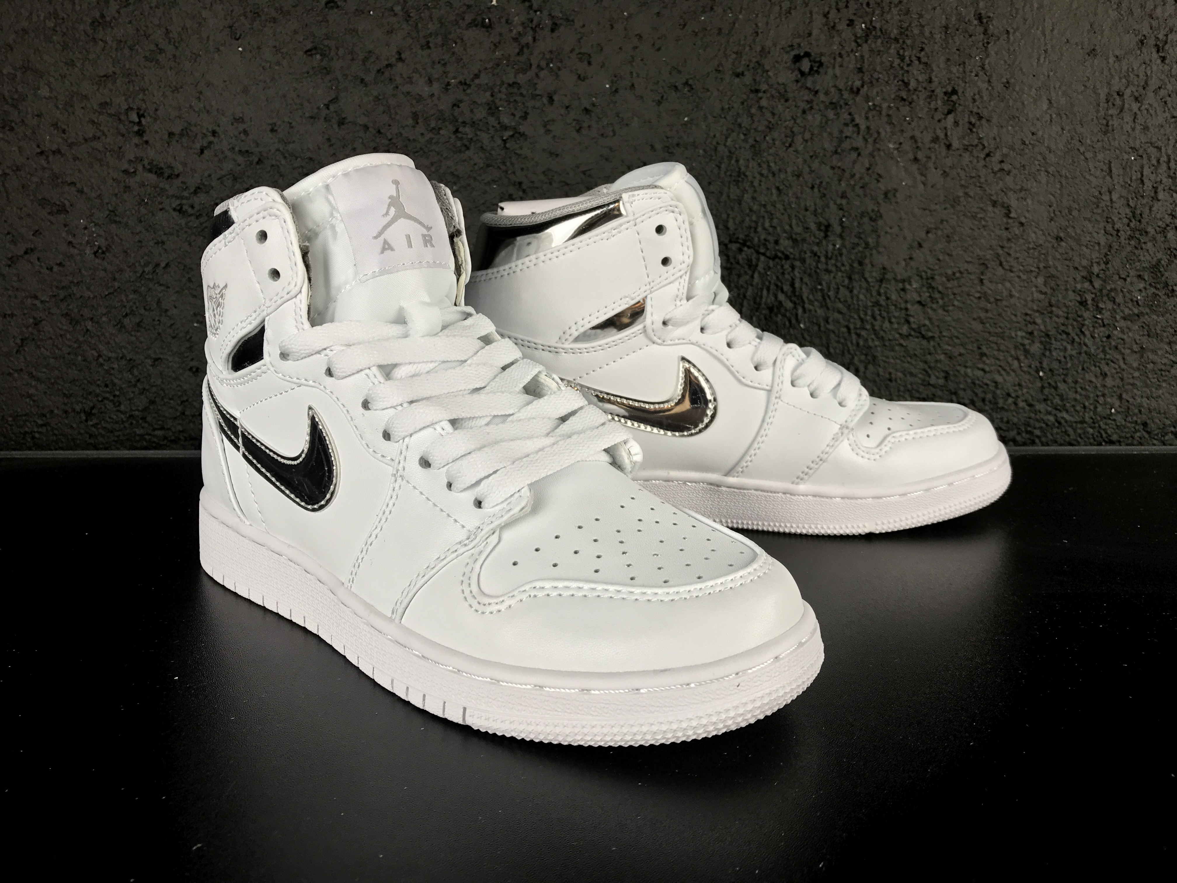 New Air Jordan 1 White Silver Shoes