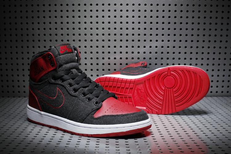 New Air Jordan 1 Wool Black Red White Shoes