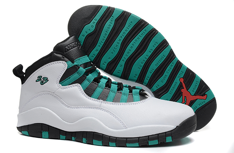 New Air Jordan 10 Retro White Black Green Shoes