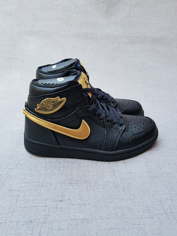 New Air Jordan 1 BHM Magic Buckle Black Gold Shoes