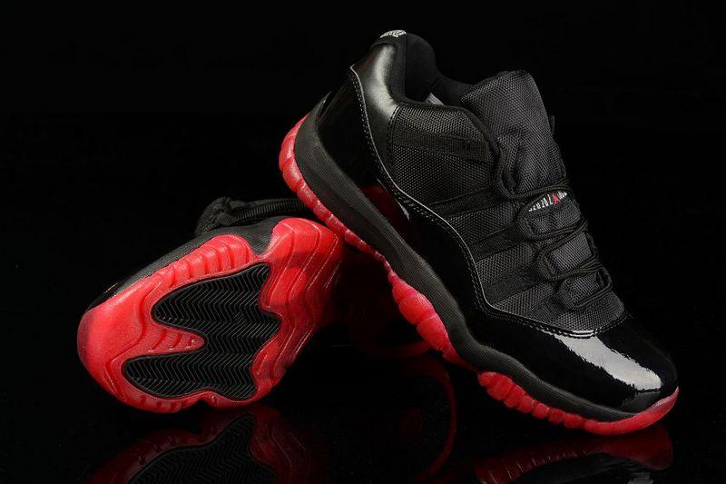 New Air Jordan 11 Low All Black Red