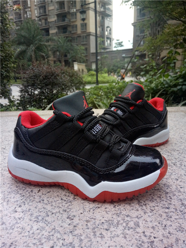 New Air Jordan 11 Low Black Red White Shoes For Kids