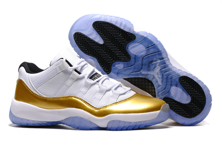 New Air Jordan 11 Low Olympic White Gold Lover Shoes