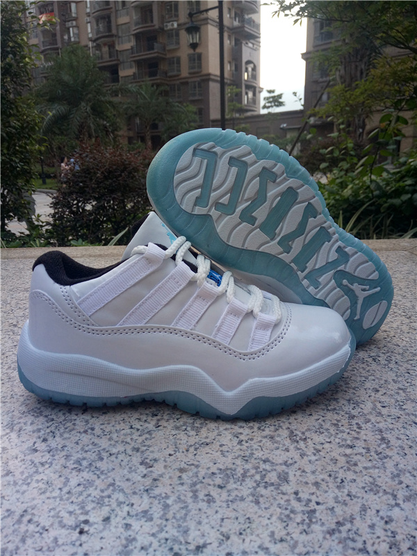 New Air Jordan 11 Low White Baby Blue Shoes For Kids
