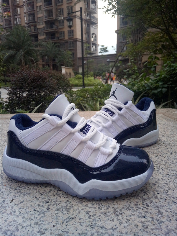 New Air Jordan 11 Low White Deep Blue Shoes For Kids
