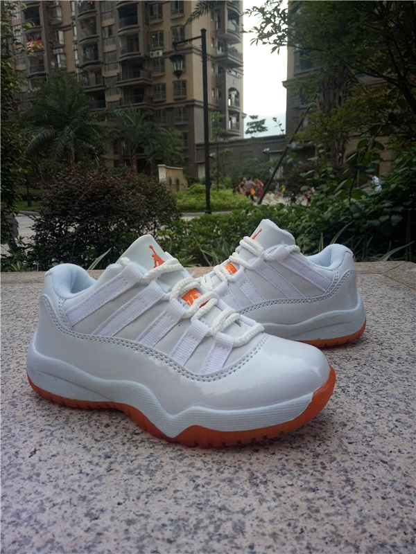 New Air Jordan 11 Low White Orange Shoes For Kids