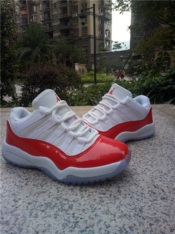 New Air Jordan 11 Low White Red Shoes For Kids