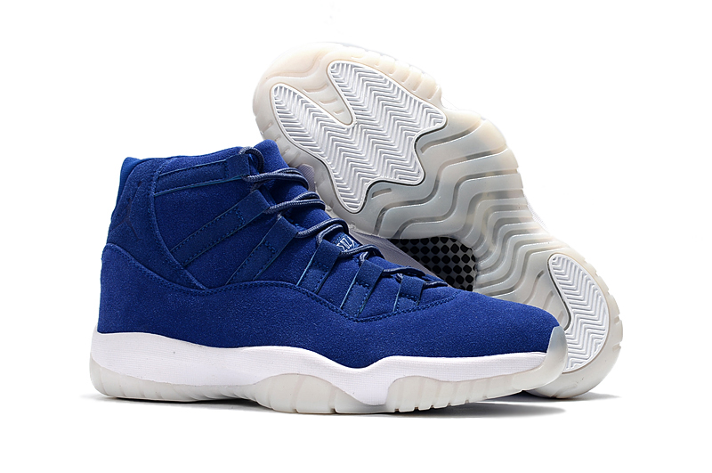 New Air Jordan 11 Navy Suede Blue White Shoes