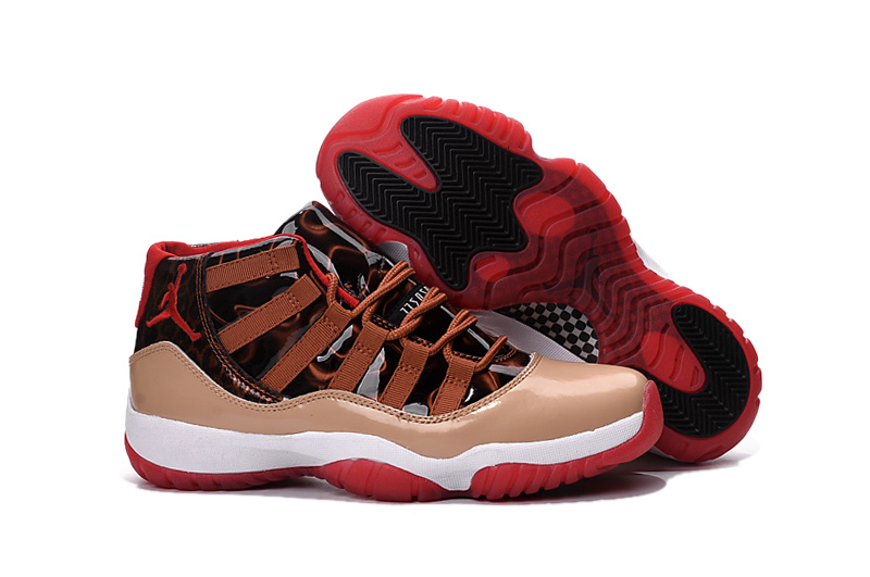 New Air Jordan 11 Retro Brown Black White Red Shoes