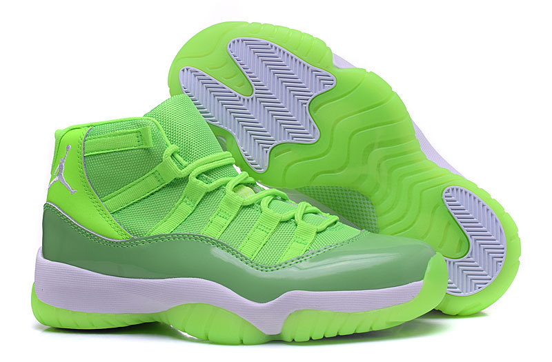 New Air Jordan 11 Retro Fluorscent Green White Shoes For Women