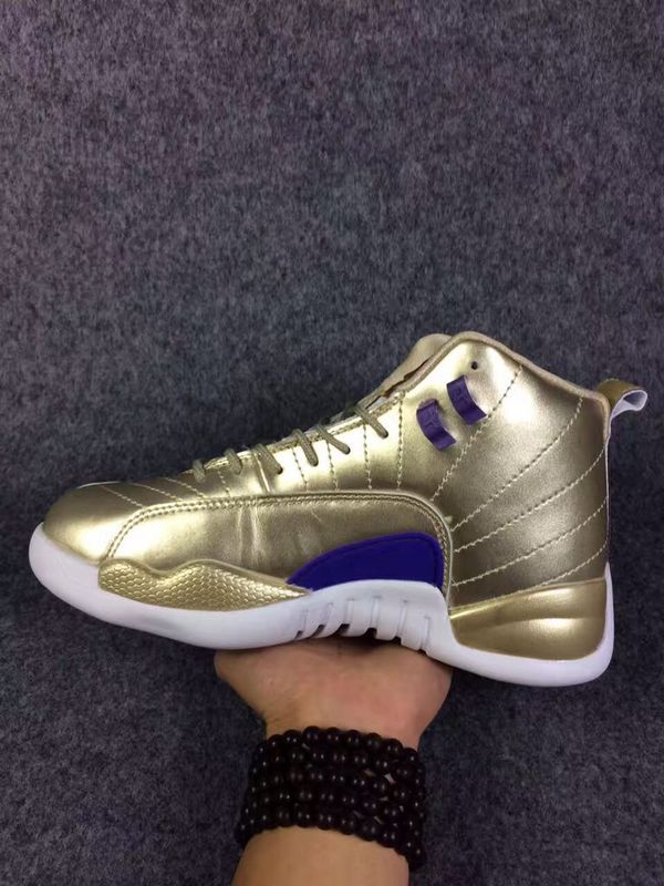 New Air Jordan 12 All Gold Blue Shoes