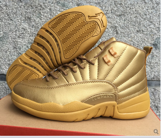 New Air Jordan 12 All Gold Shoes