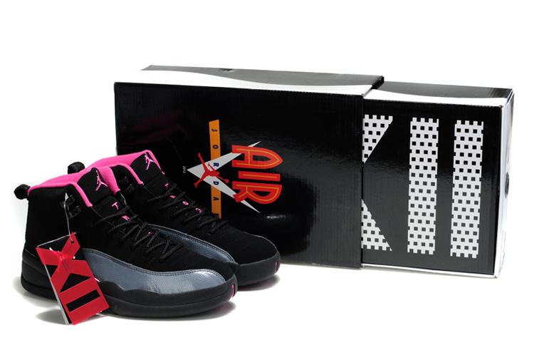 Latest Air Jordan 12 Black Grey Pink