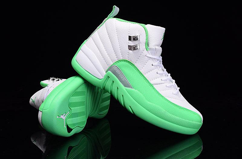 New Air Jordan 12 GS White Green Shoes