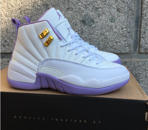 New Air Jordan 12 GS White Purple Shoes
