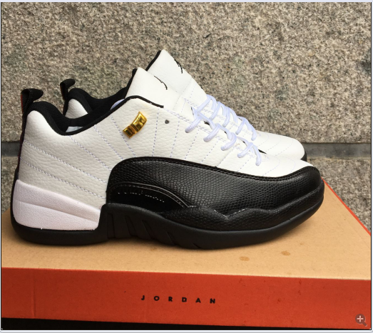 New Air Jordan 12 Low Taxi White Black Gold Shoes