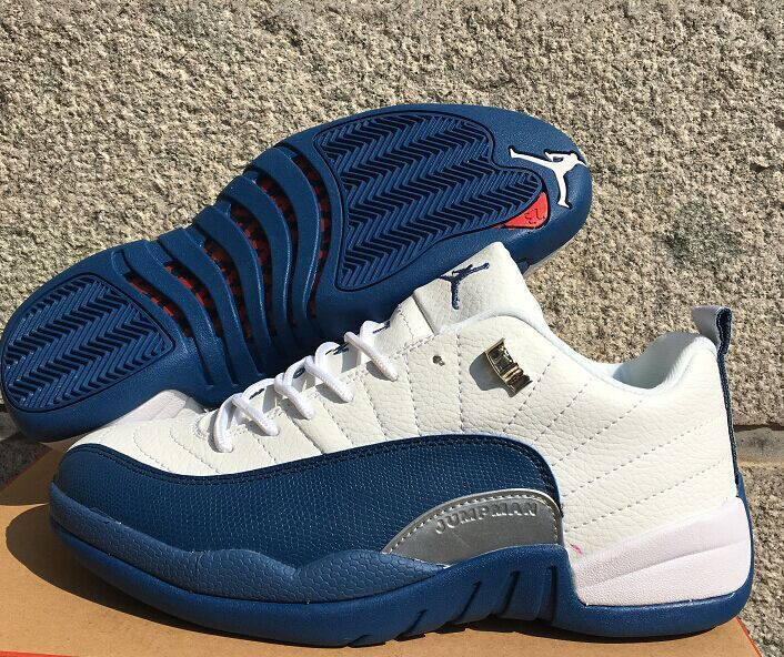 New Air Jordan 12 Low White Frech Blue Shoes