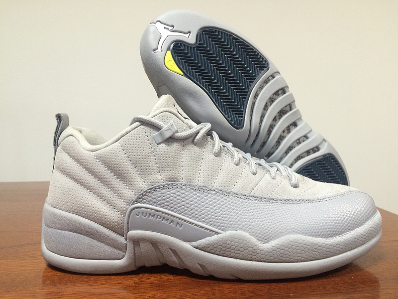 New Air Jordan 12 Low White Grey Blue Shoes