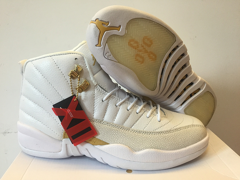 New Air Jordan 12 OVO White Gold Women Shoes