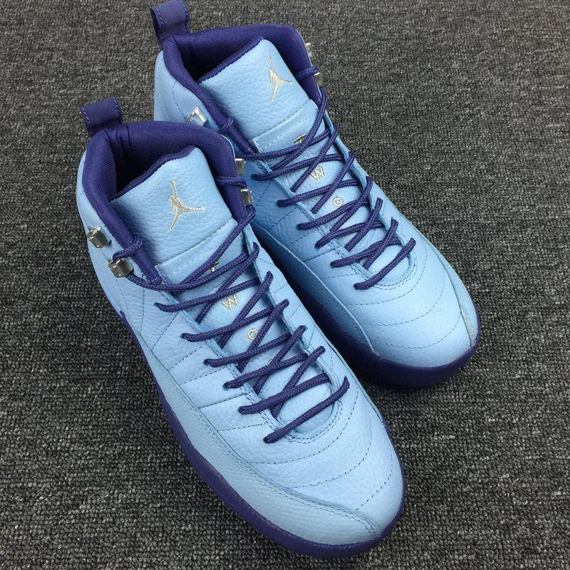 New Air Jordan 12 Purple Blue White Shoes For Women