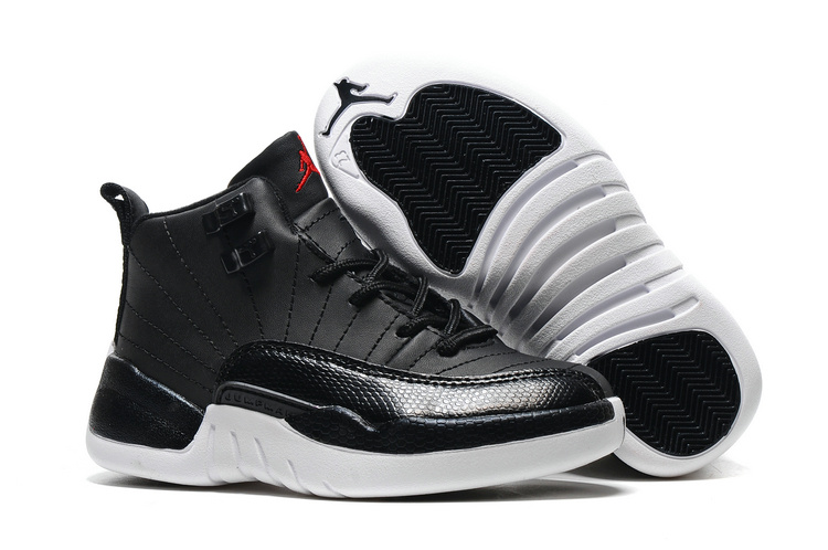 New Air Jordan 12 Retro Black White Red Shoes For Kids