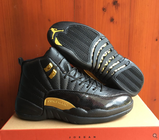 New Air Jordan 12 Retro Black Yellow Shoes