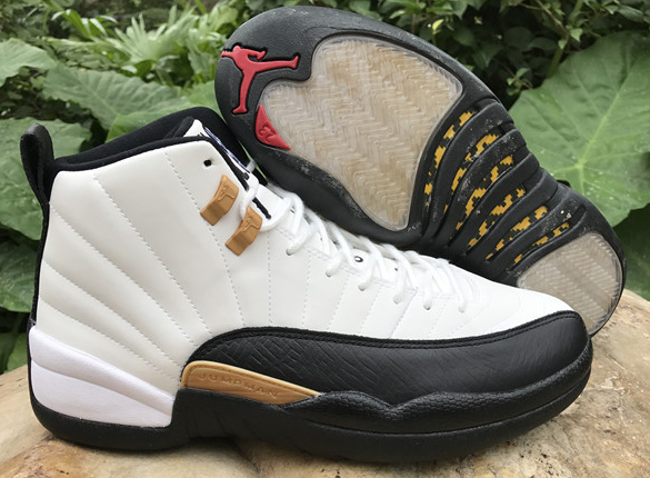 New Air Jordan 12 Retro Chinese New Year White Black Gold Shoes