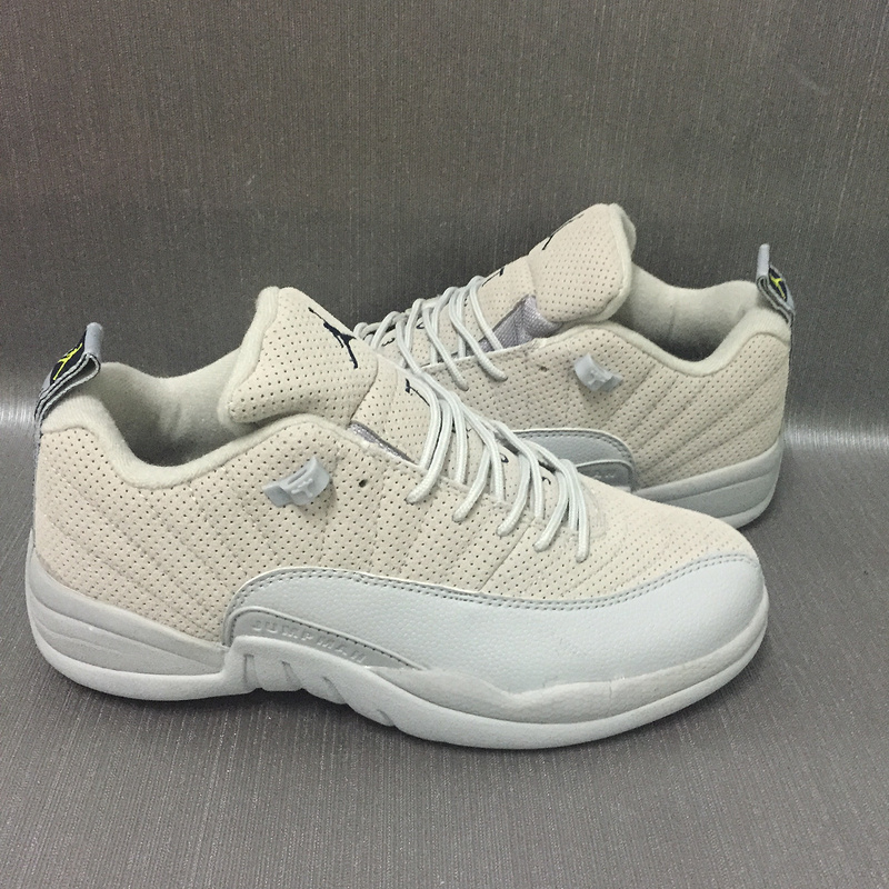 New Air Jordan 12 Retro Low Grey White Shoes