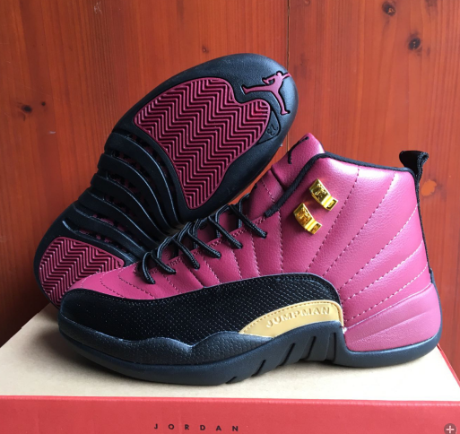 New Air Jordan 12 Retro Purple Black Gold Shoes