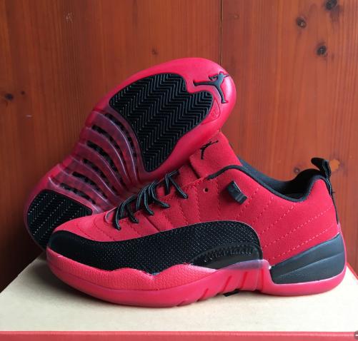 New Air Jordan 12 Retro Red Black Transparent Sole Shoes
