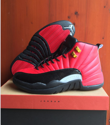 New Air Jordan 12 Retro Red Black White Gold Shoes