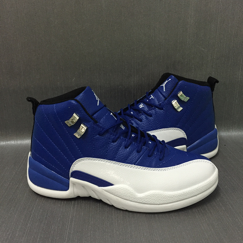 New Air Jordan 12 Retro Sea Blue White Gold Shoes