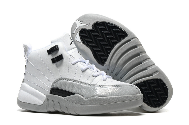 New Air Jordan 12 Retro White Grey Black Shoes For Kids