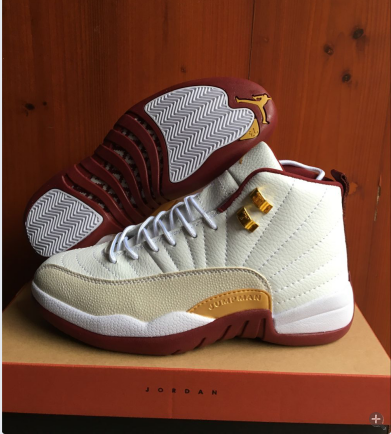 New Air Jordan 12 Retro White Wine Red Gold Shoes