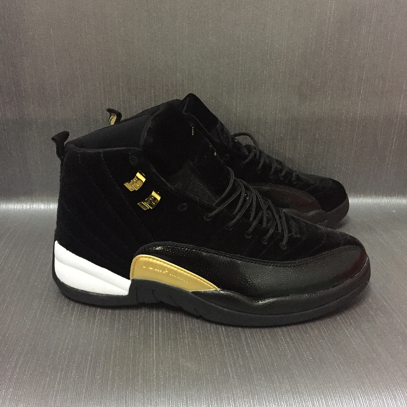 New Air Jordan 12 Velvet Black Gold Shoes