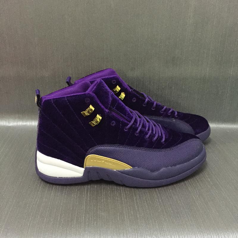 New Air Jordan 12 Velvet Purple Gold Shoes
