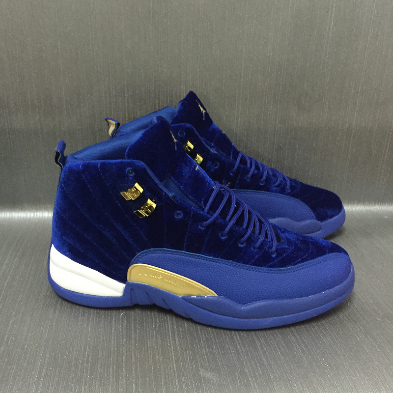 New Air Jordan 12 Velvet Royal Blue Gold Shoes