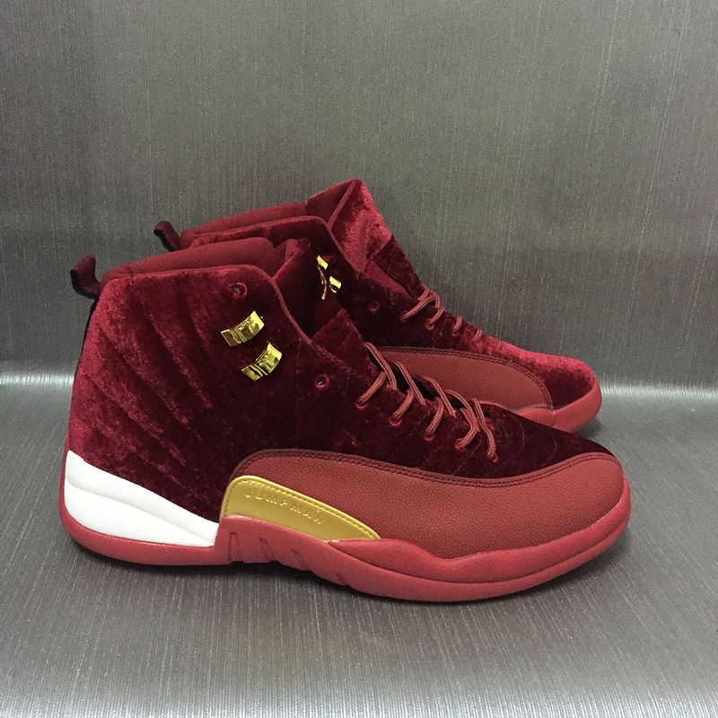 New Air Jordan 12 Velvet Wine Red Gold Shoes