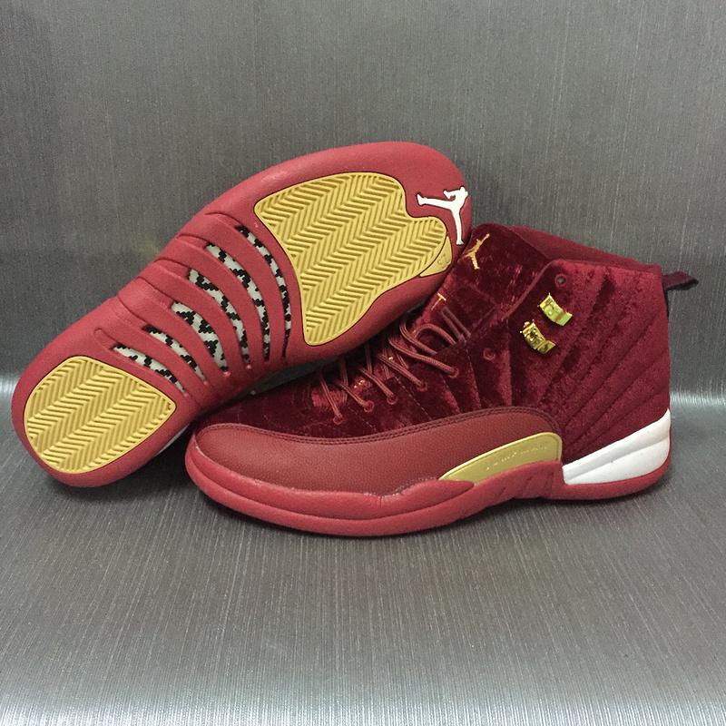 New Air Jordan 12 Velvet Wine Red Gold Shoes