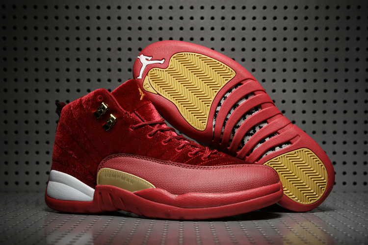 New Air Jordan 12 Velvet Wine Red Yellow White Shoes