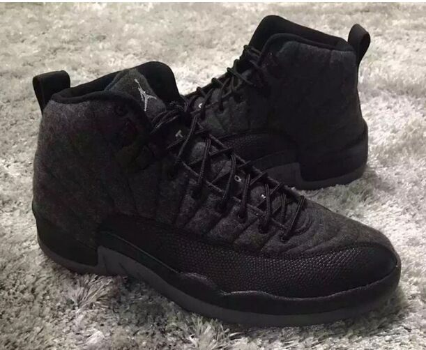 New Air Jordan 12 Wool All Black Shoes