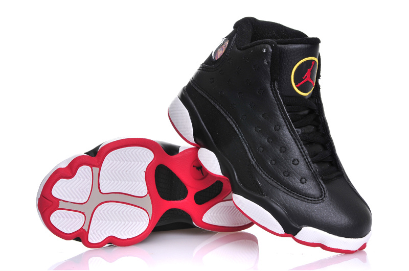 New Air Jordan 13 Black White Red For Kids